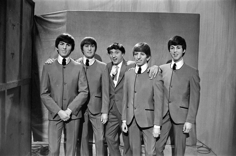 Ken Dodd brings waxwork Beatles to the TV show Juke Box Jury, May 1964