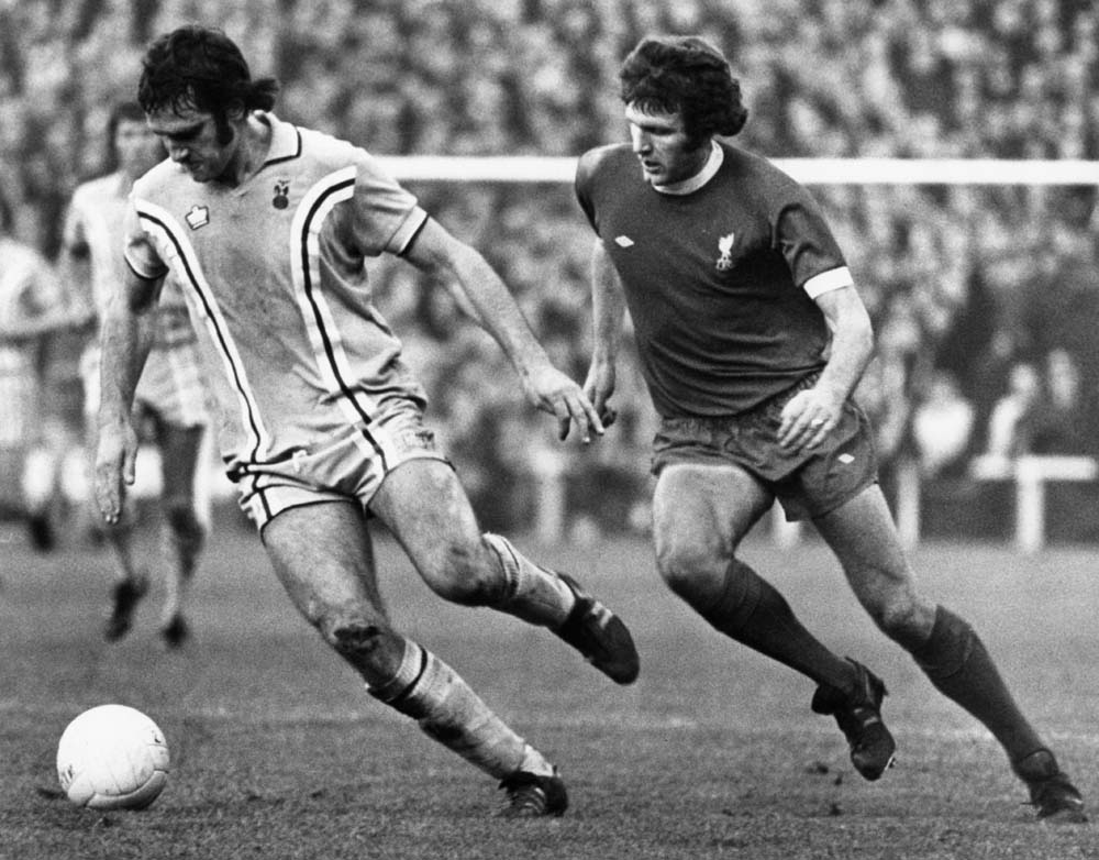 Former Liverpool player Larry Lloyd and John Toshack in the 1-1 draw at Coventry, November 1975