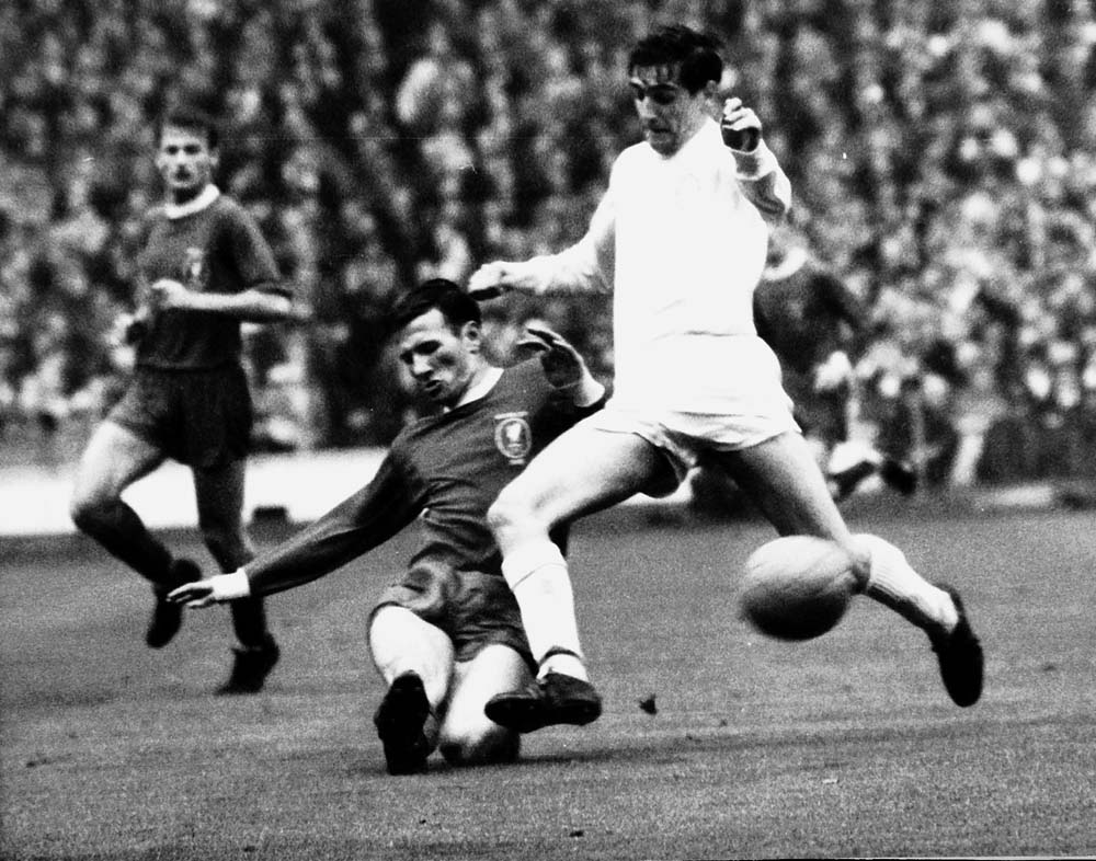 Tommy Smith and Norman Hunter compete for the ball in the FA Cup Final, May 1965