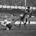 Goalkeeper Gordon West saves from Liverpool's Chris Lawler, February 1968
