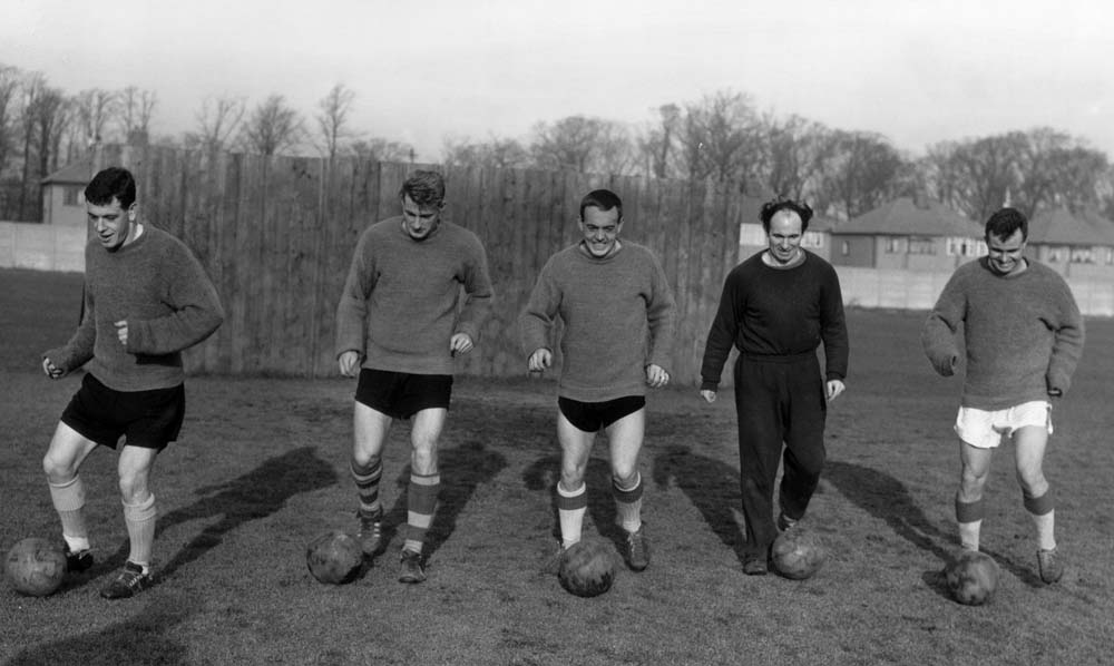 Ian Callaghan, Roger Hunt, Ian St John, Jimmy Melia and Alan A'Court in training, January 1962