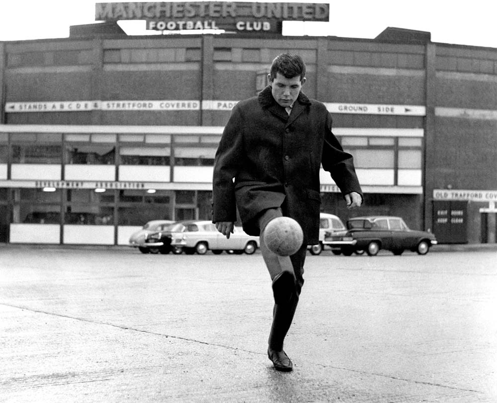 Bolton Wanderers player Barry Fry practising outside Old Trafford, August 1964