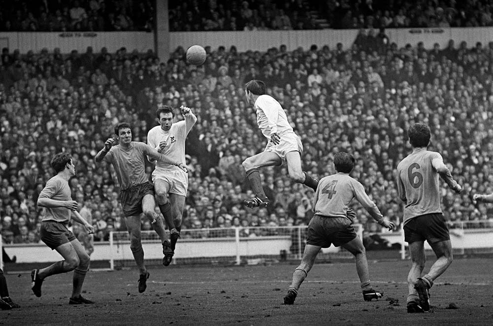 Brian Labone contests a high ball with West Brom's Jeff Astle in the FA Cup Final, May 1968