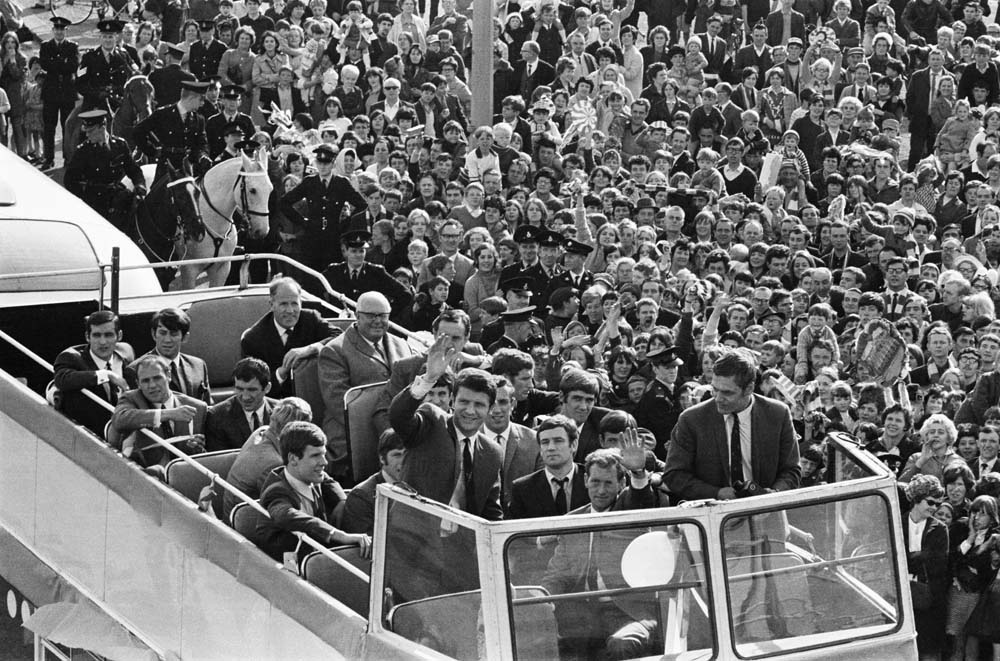 Everton's home-coming parade after the 1968 FA Cup Final leaves Allerton Station, May 1968