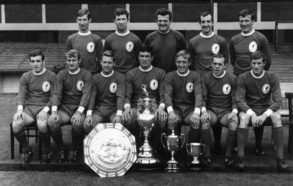 Trophies on display at Liverpool's pre-season team photo, August 1966