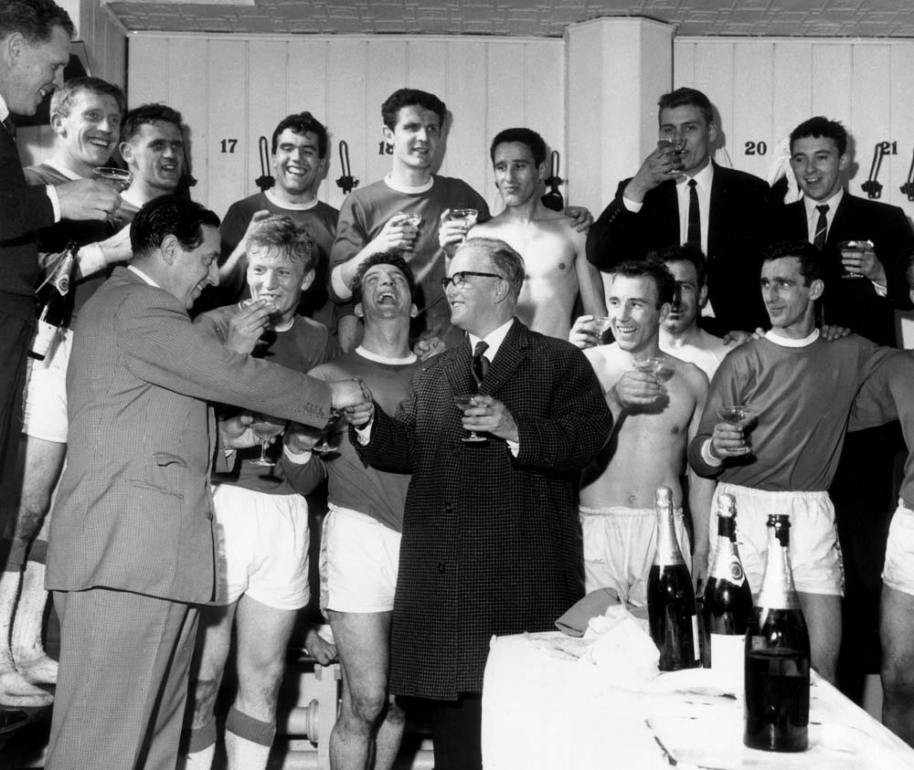 Champagne in the dressing room for Everton's league-winning team, April 1970