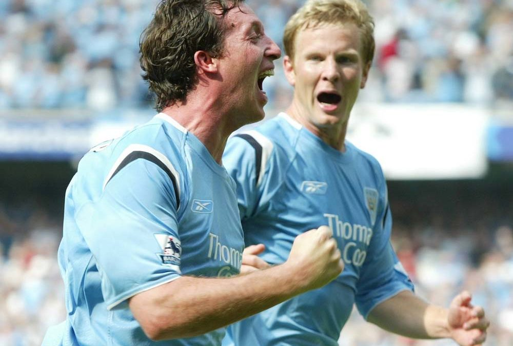 Robbie Fowler celebrates Manchester City goal