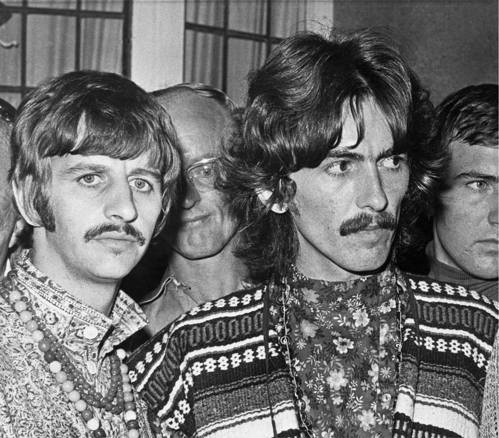 Ringo Starr and George Harrison are shocked to learn of Brian Epstein's death, August 1967