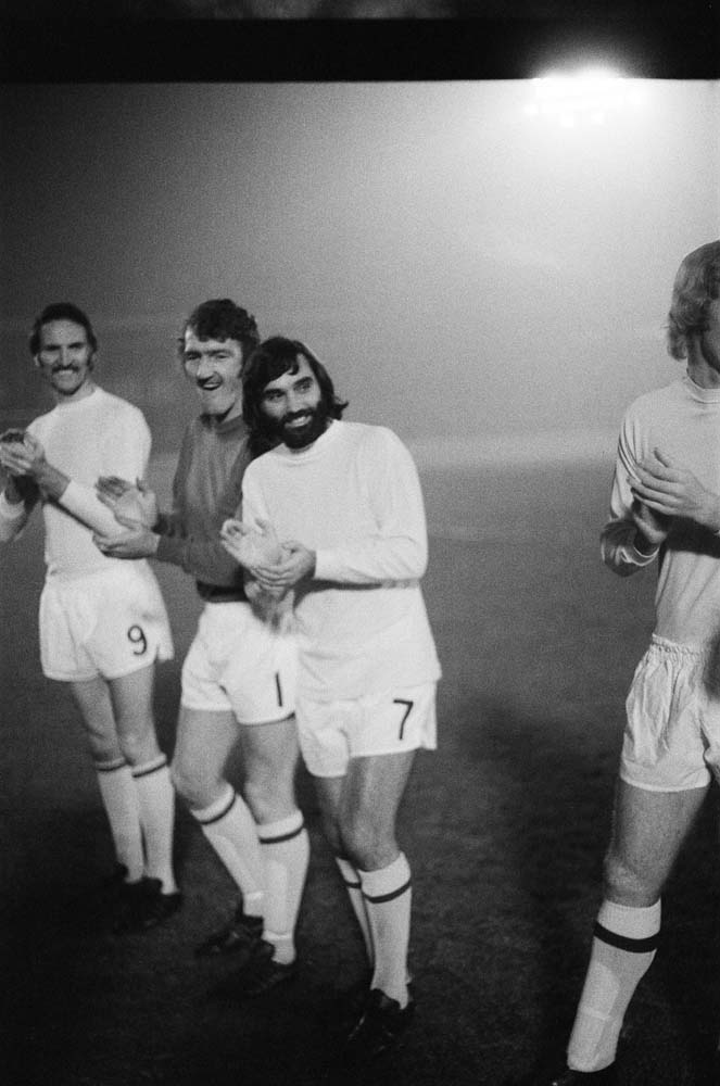 George Best, centre, at the Paul Aimson testimonial match, November 1975