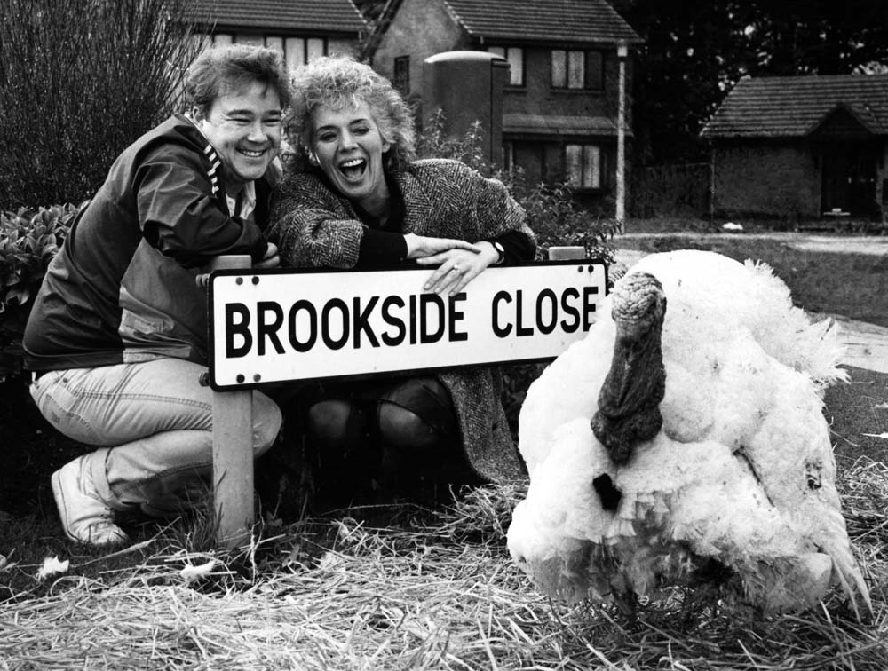 Michael Starke (Sinbad) and Sue Johnston (Sheila Grant) with Trevor the Turkey, November 1985
