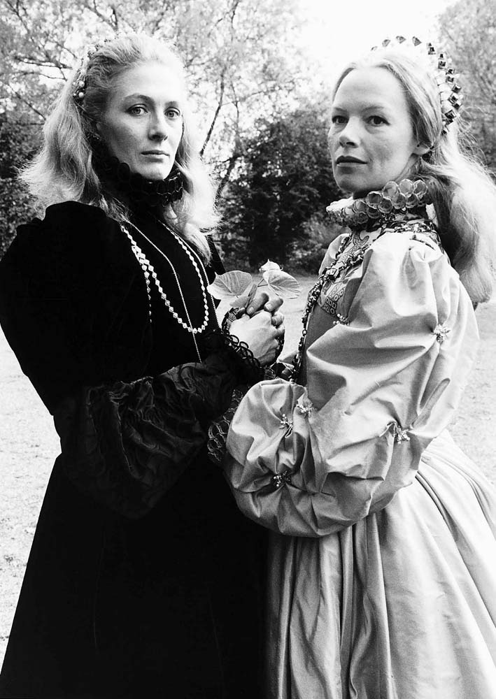 Vanessa Redgrave (Mary) and Glenda Jackson (Elizabeth) filming Mary Queen of Scots, May 1971
