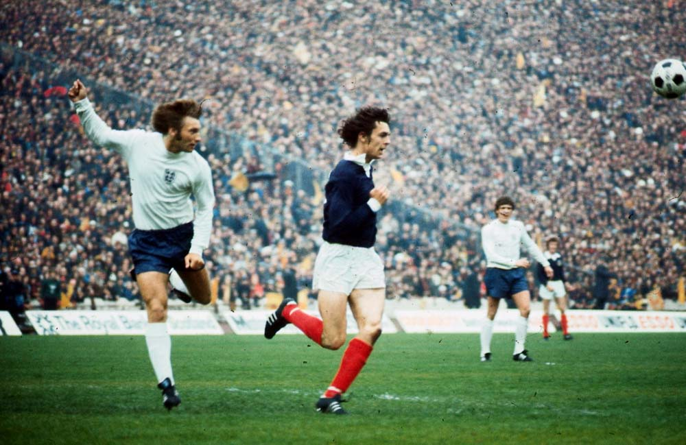 Future Manchester United striker Joe Jordan playing for Scotland against England, May 1974