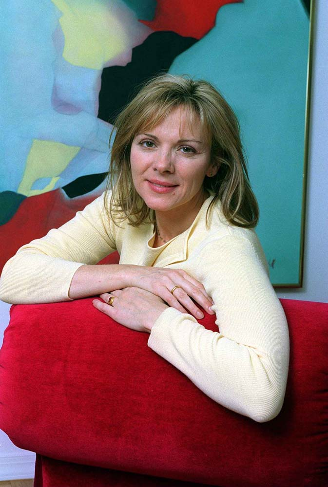 Liverpool-born actress Kim Cattrall at home in the USA, February 1999