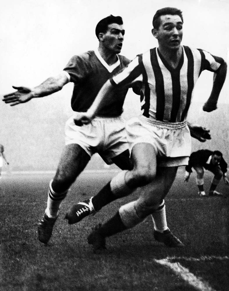 Brian Clough, right, in action for Sunderland against Bury, December 1962