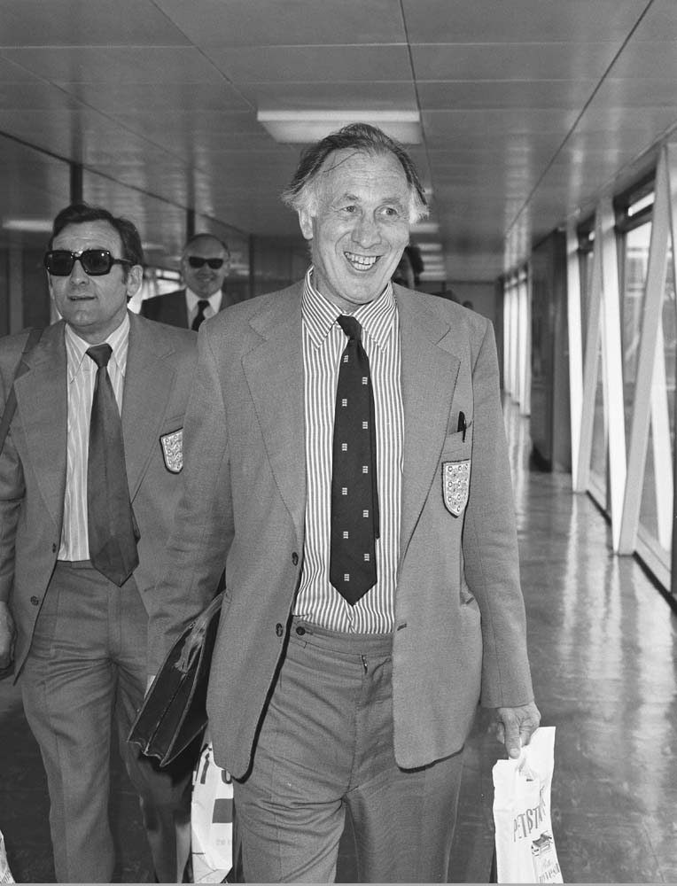 Manager Joe Mercer flies out for England's tour of Eastern Europe, June 1974