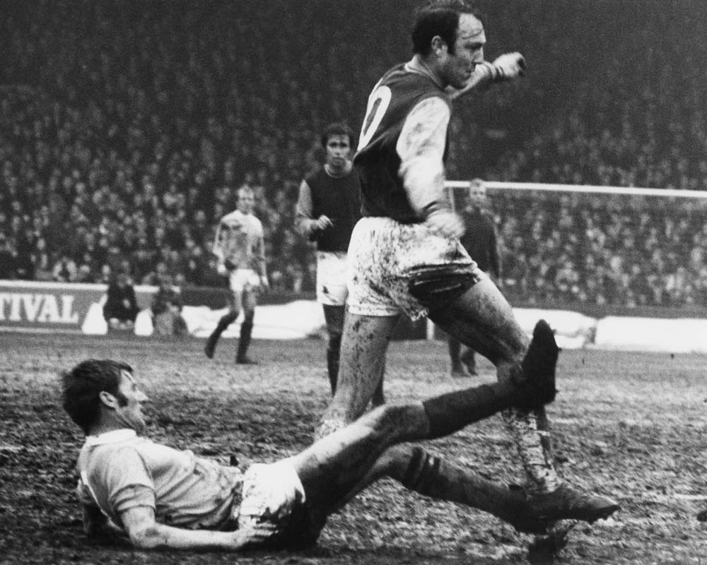 Greaves getting clattered by Tony Book, November 1970