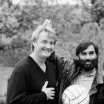 Rodney Marsh and George Best clown around for the cameras, November 1987