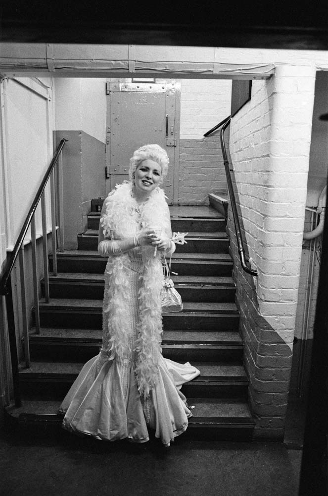 Marji Clarke in costume for Cinderella at the Liverpool Empire, January 1990