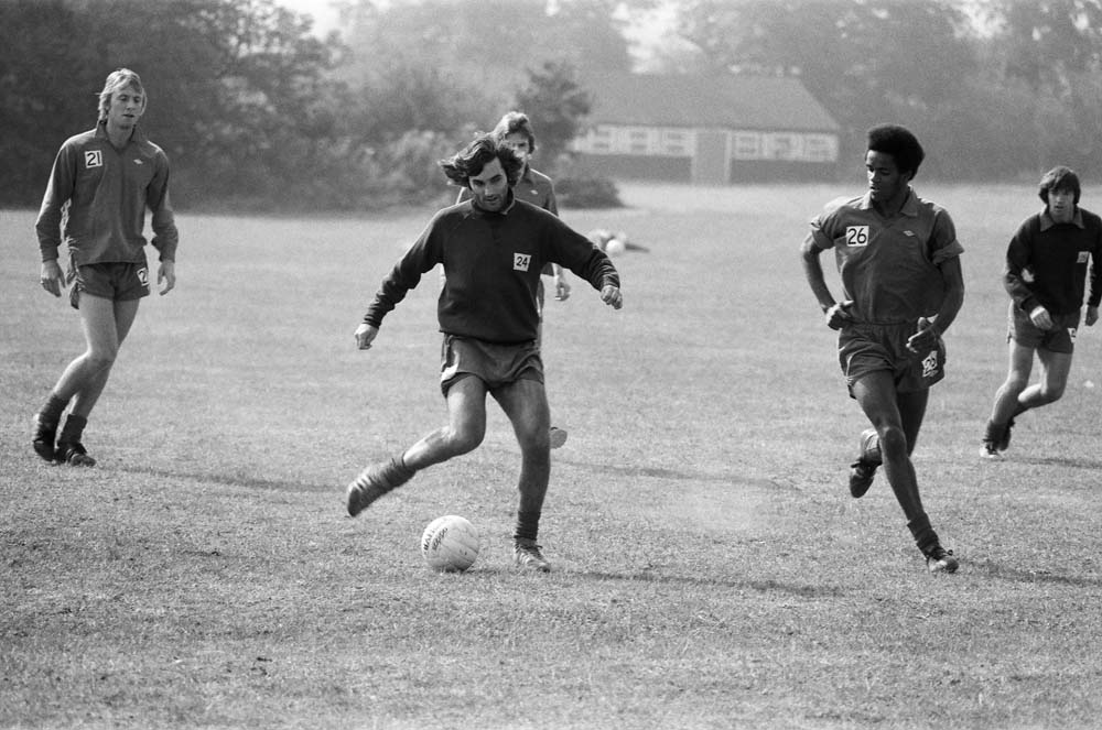 George Best, centre, and Rodney Marsh, left, in training, September 1976