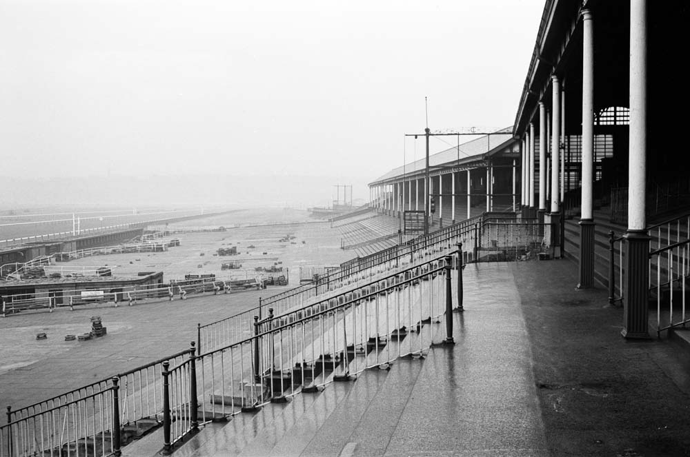 Empty stands before the final race at Castle Irwell, November 1963