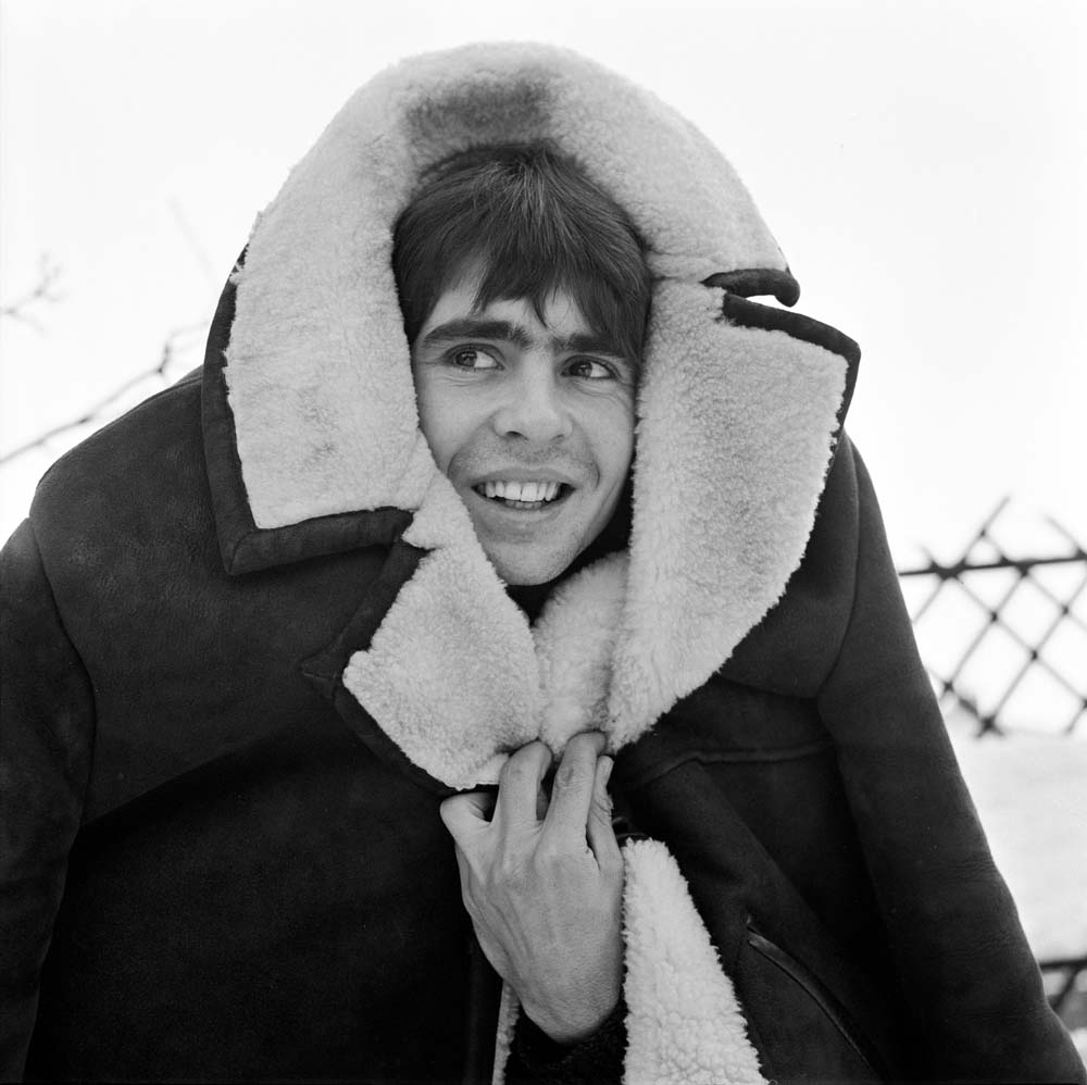 Feeling the cold: Davy Jones at Manchester airport, January 1970