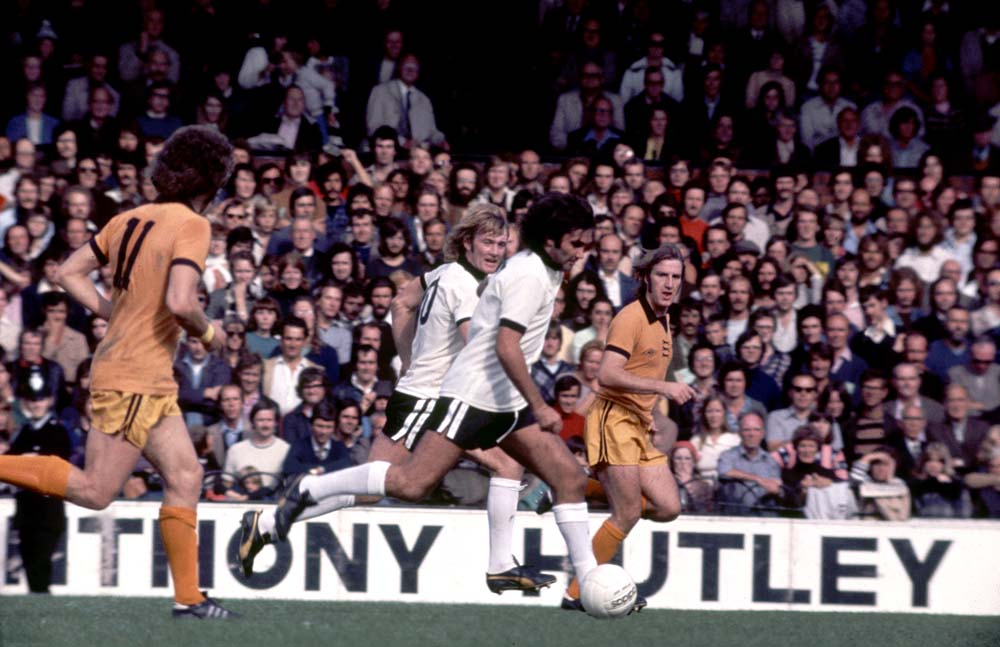 Fulham team-mates George Best and Rodney Marsh in action against Wolves, September 1976