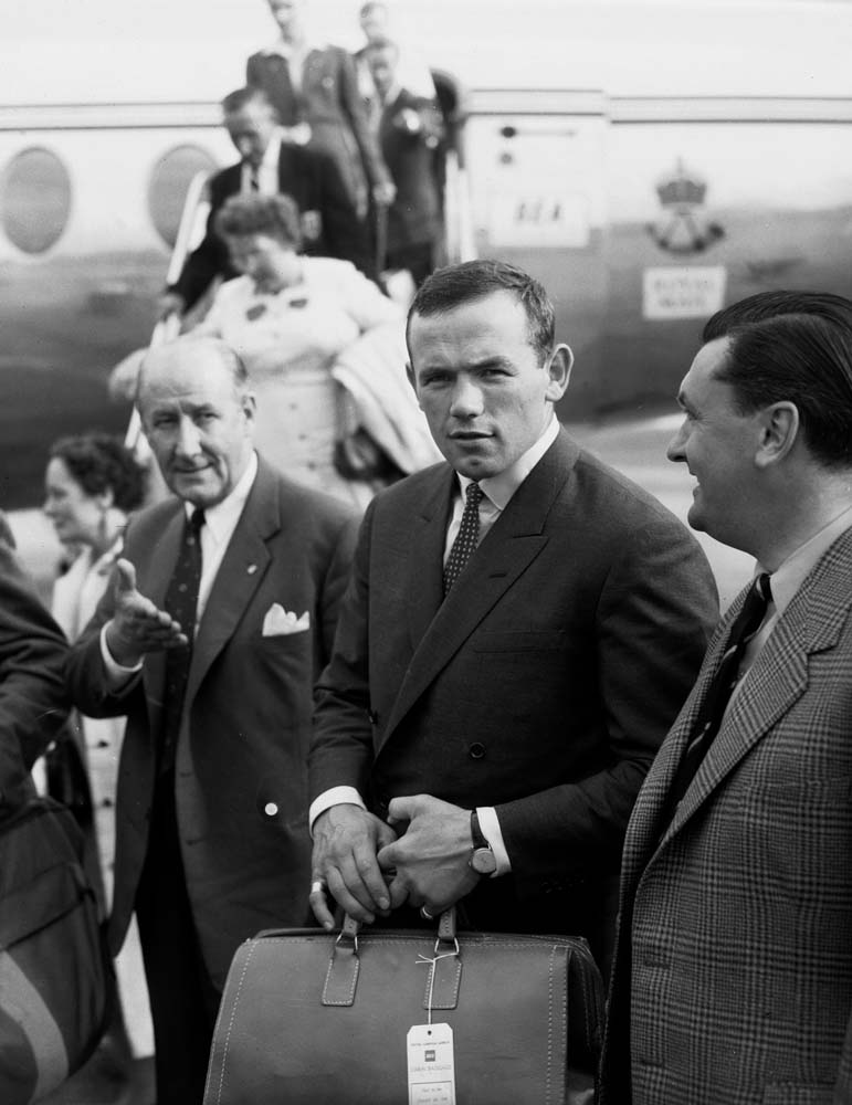 Swedish world heavyweight champion Ingemar Johansson at Manchester airport, August 1959