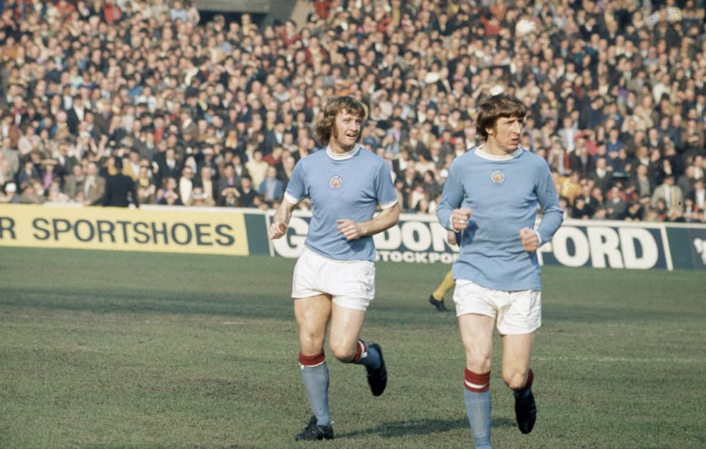 City midfielder Colin Bell, right, with Rodney Marsh in a 1-0 victory over Chelsea, March 1972