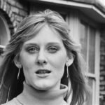 Sarah Lancashire in a 1987 photo shoot on the cobbles of the set of Coronation Street