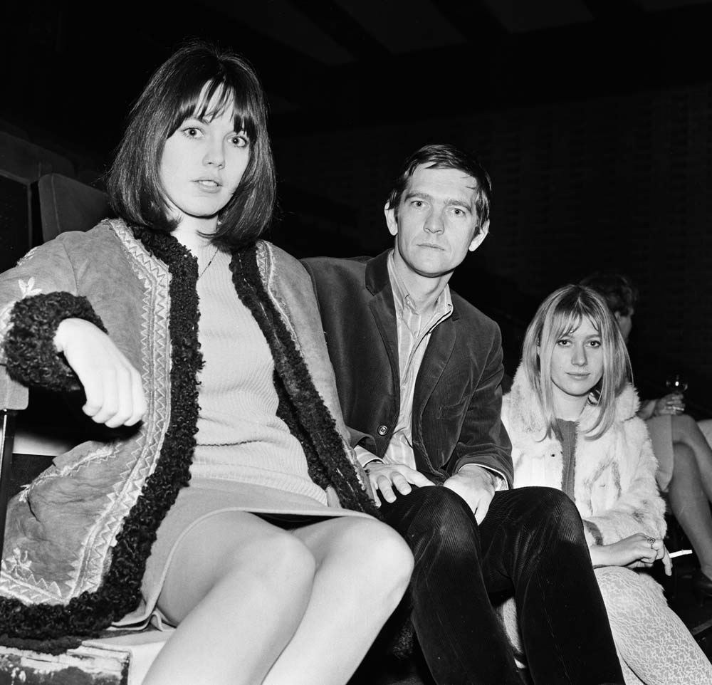 Tom Courtenay appearing in Charley's Aunt in Manchester with Lucy Fleming, left, and Helen Mirren, December 1966