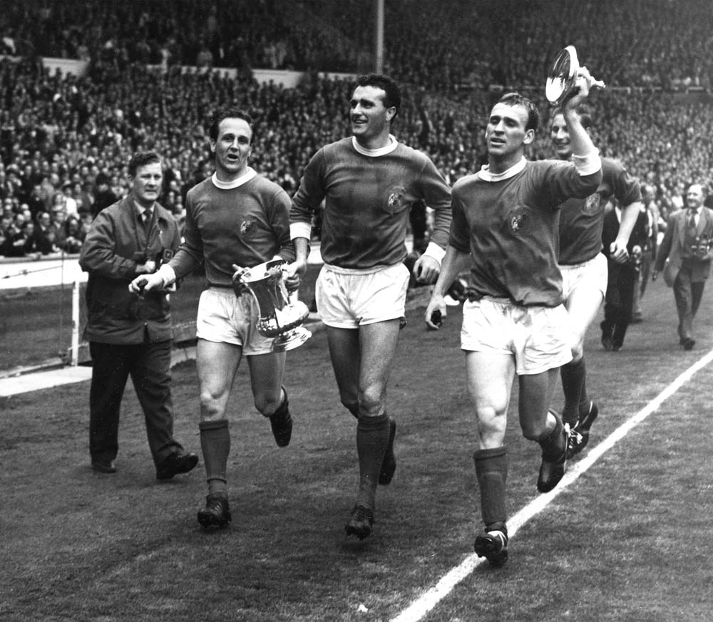 Noel Cantwell, centre, as a Manchester United player with the FA Cup, May 1963
