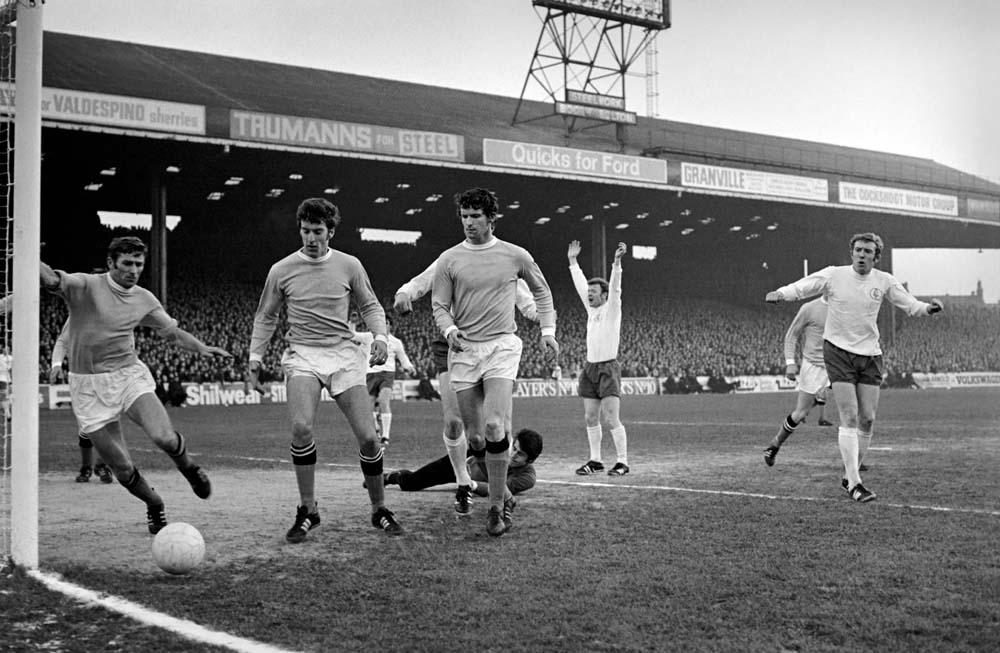 Tony Book, left, in action during a 2-1 defeat by Leeds United, November 1969