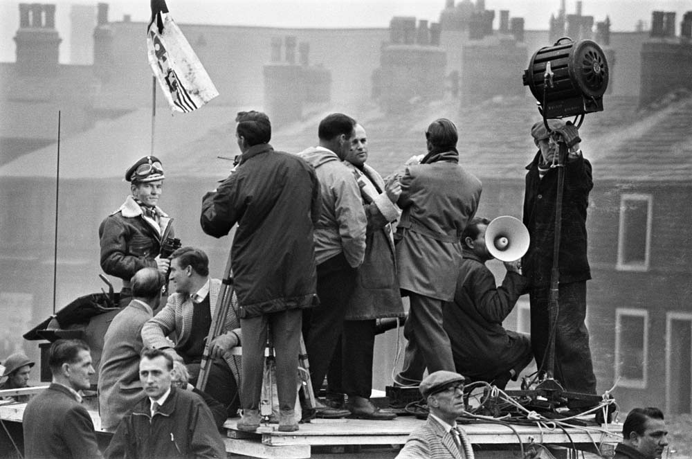 Filming a wartime dream sequence for the movie Billy Liar, October 1962