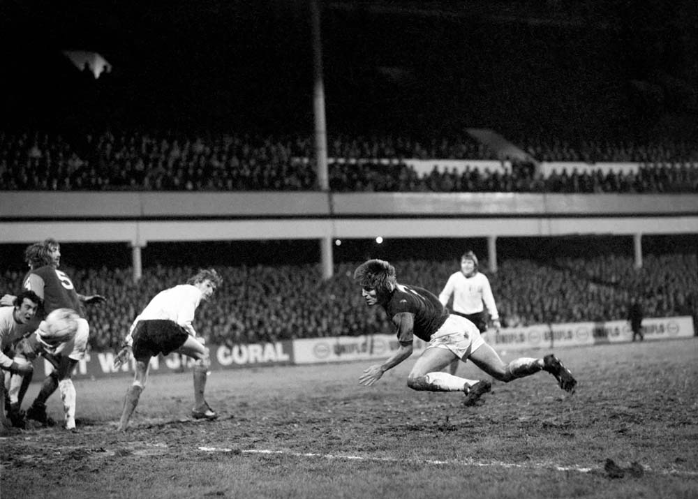 City captain Tony Book speaks up for Arsenal's Charlie George after a harsh booking, December 1969