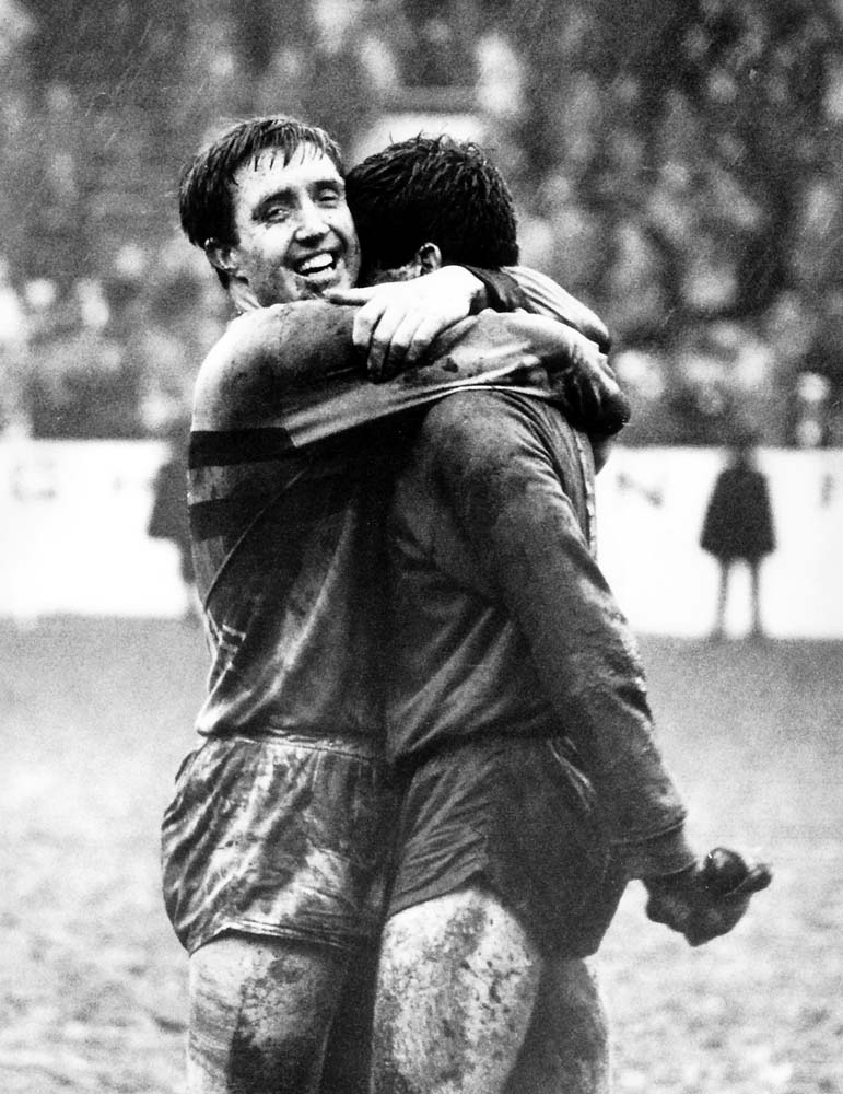 John Bond hugs 'keeper John Standen after West Ham had beaten Manchester United in an FA Cup tie, March 1964