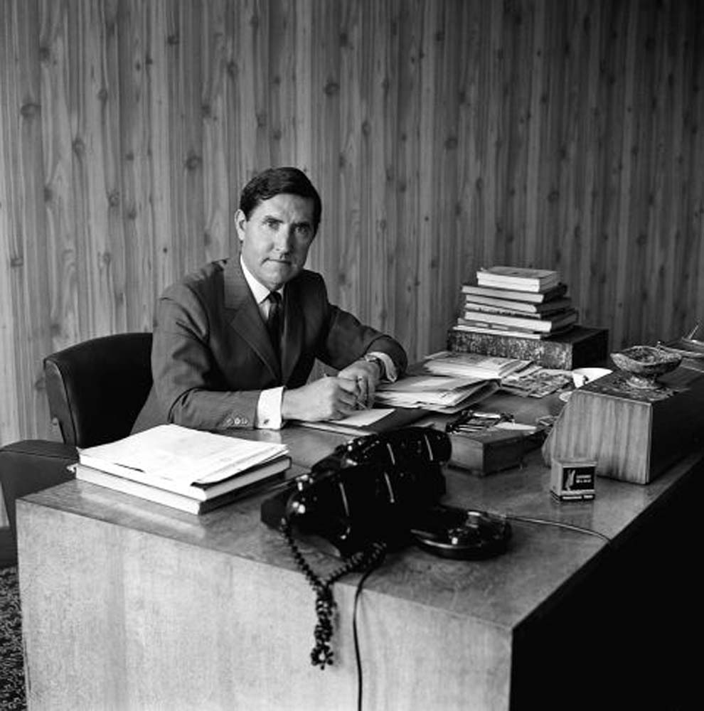 New Manchester United manager Frank O'Farrell in his office at Old Trafford, July 1971