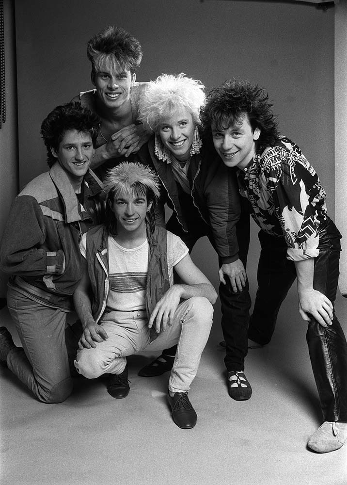 Limahl, front, with his band Kajagoogoo, February 1983