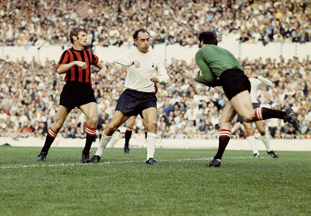 Joe Corrigan and Tony Book perform a pincer movement on the Spurs' attack, September 1970