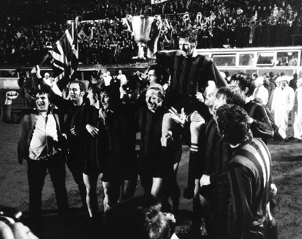 Celebrations all round after City beat Gornik Zabrze in the Cup Winners' Cup Final, April 1970