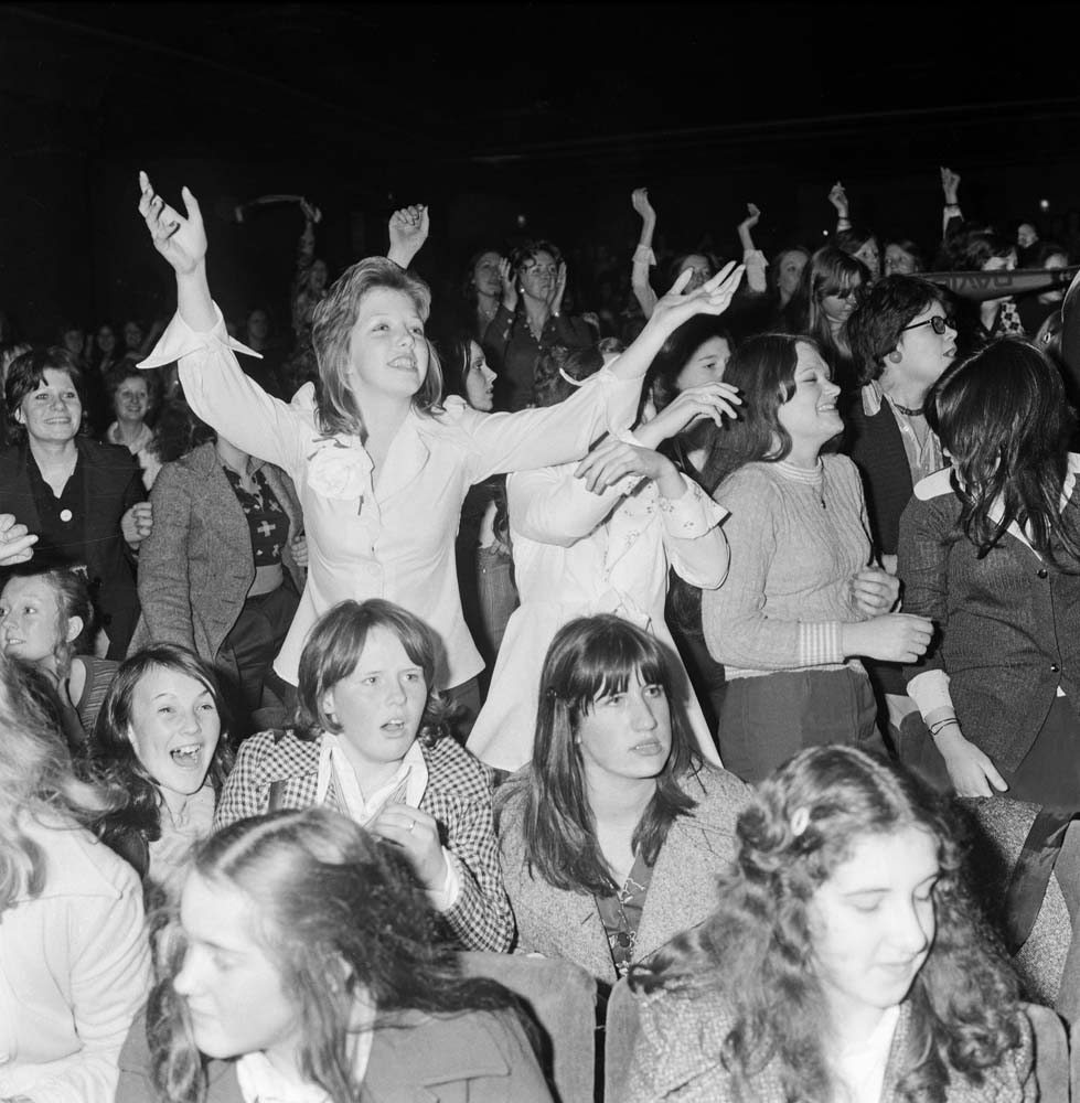 Fans go wild as David Essex performs at the Empire, November 1974