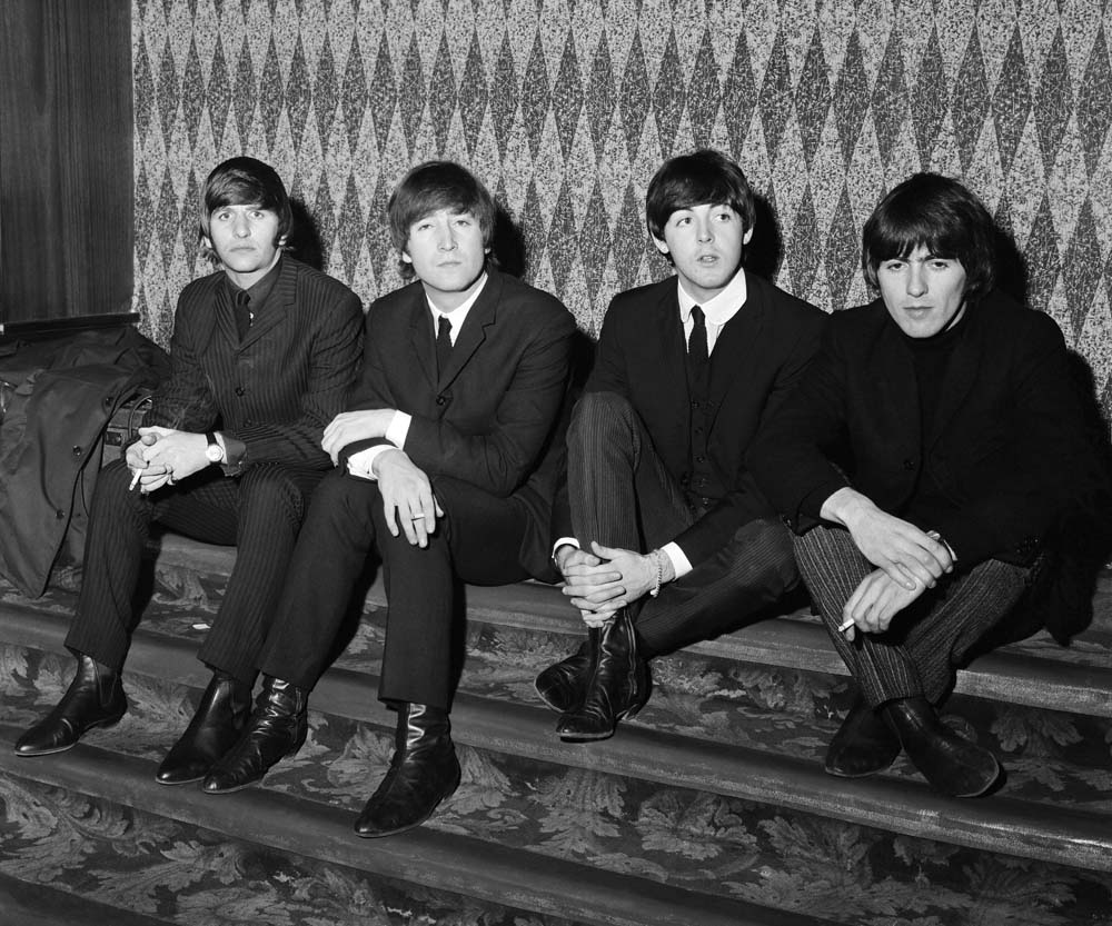 The Beatles, Ringo Starr, John Lennon, Paul McCartney and George Harrison, on their 1964 UK tour