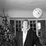 Denis Law heads the ball around his Christmas tree, December 1987