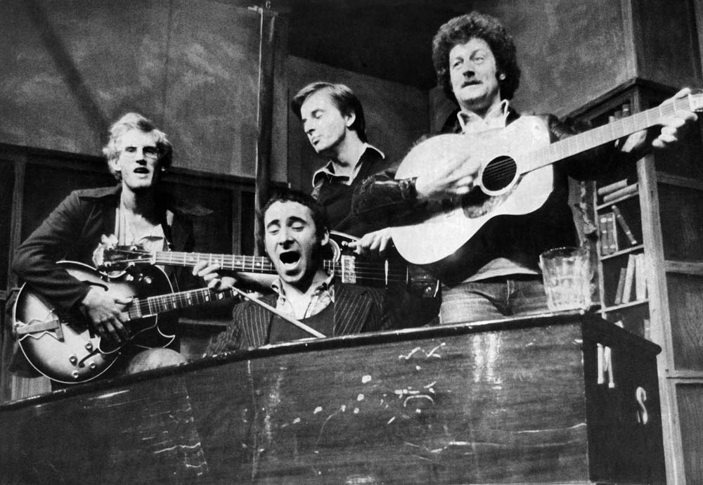 Philip Joseph, Anthony Sher, Trevor Eve and Bernard Hill in rehearsals for John, Paul, George, Ringo and Bert, June 1974