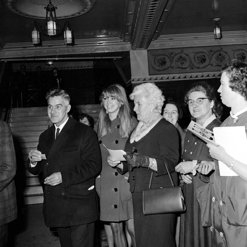 George Harrison's wife Patti Boyd and his family at the Liverpool Empire, December 1965