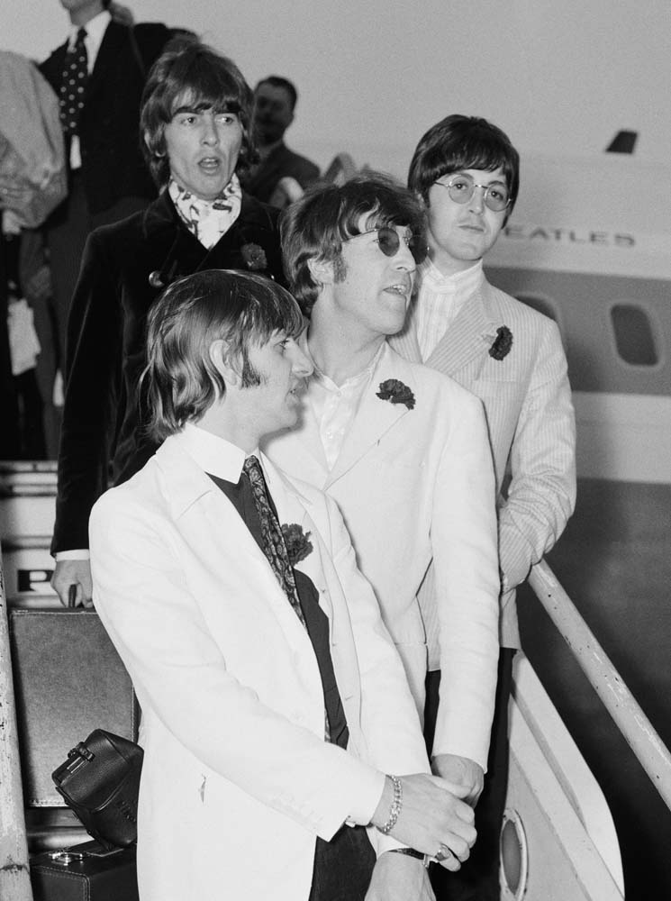 Back home: The Beatles arrive at Heathrow after final US tour, August 1966