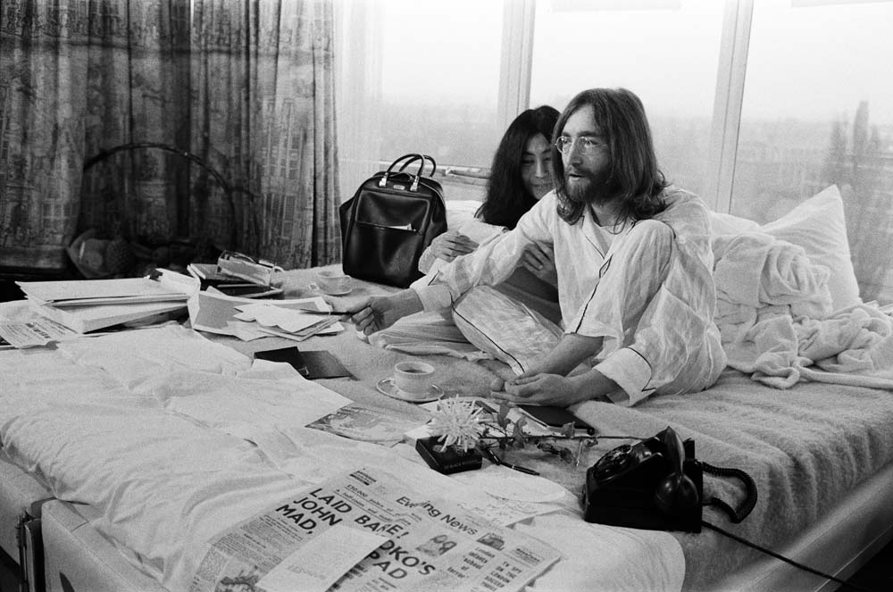 Yoko Ono and John Lennon stage their bed-in at the Amsterdam Hilton, March 1969