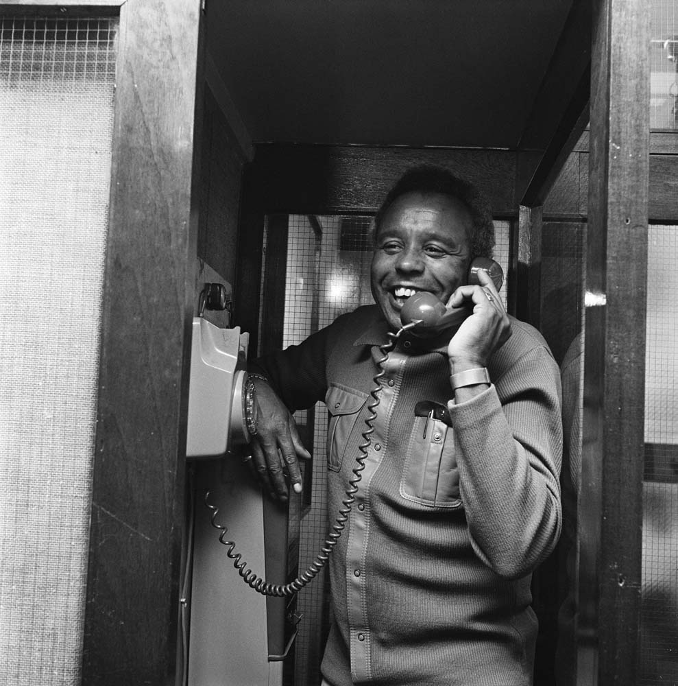 Charlie Williams, a star of Granada TV's The Comedians, on the 'phone in January 1973