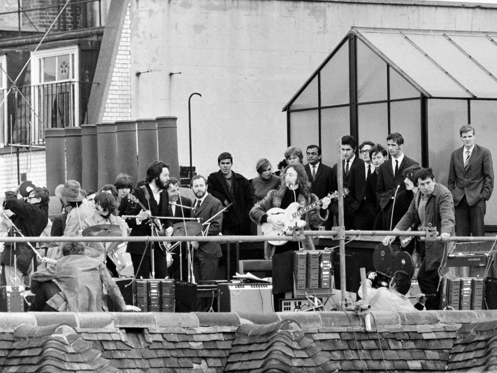 The Beatles' last live performance on the Apple company roof, January 1969