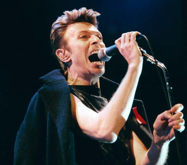 David Bowie performs at The NYNEX Arena, Manchester, as part of his Outside Tour. 8th December1995