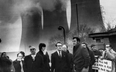 Look back to 1972: National Union of Miners protest at Agecroft power station.